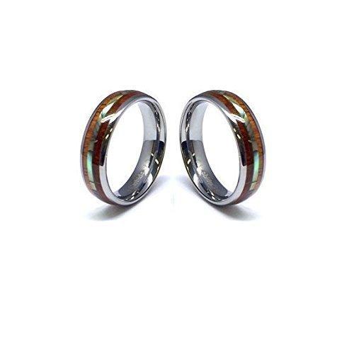 Tungsten Rings Set Koa Wood Wedding Bands Avalone Shell Female Wedding by Aumaris Jewelry