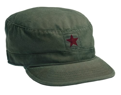 Red Fatigue Cap (Vintage Olive Drab W/Red Star Fatigue Cap (XS))