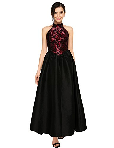 Lace Gown Long (ANGVNS Women's Halter Floral Lace Evening Ball Gown Long Formal Party Prom Dress)