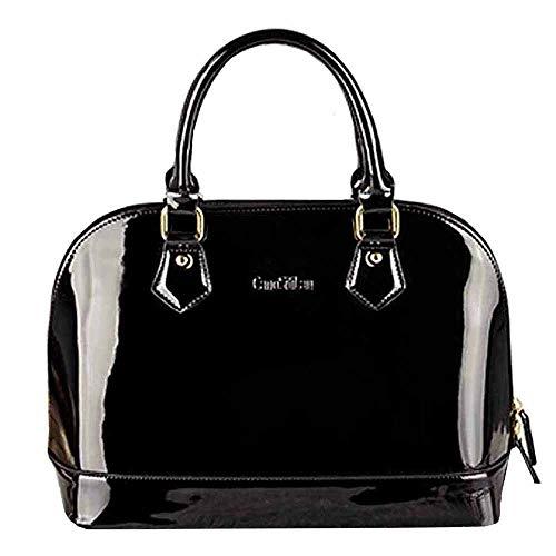 (Buddy Fashion Shoulder Bag Patent Leather Handbag Tote Satchel Purse Top Handle Bag (Black))