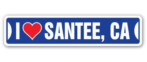 I Love Santee, California Street Sign Decal ca City State us Wall Road décor Gift -