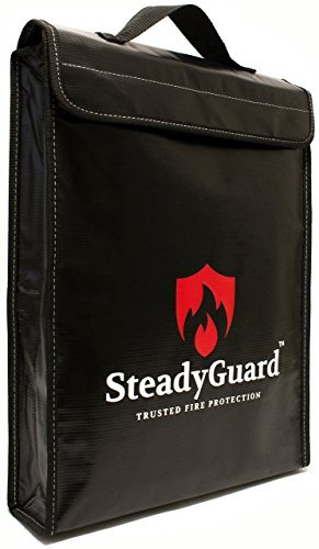 "SteadyGuard Premium Fireproof Bag - XL 15""x11.5""x2.5"" - Non-Itchy Silicone Coated Fiberglass Pouch w/ Zipper & Handle - Safe Storage of Valuables Documents Money - Water & Fire (Wide Gusset Laptop Flap)"