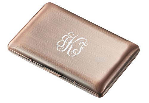 Visol Antique Copper Double Sided Business Card Case with Free Laser Engraving (Vine Monogram)