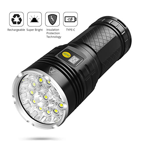 Sondiko 10000 Lumen Super Bright Led Flashlight, Rechargeable Type-C 12xLEDs 4 Modes Torch with Power Display Function&Insulation Protection Technology, Built-in Batteries