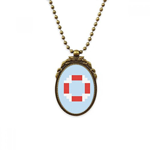 DIYthinker Summer Sail Life Buoy Pixel Antique Brass Necklace Vintage Pendant Jewelry Deluxe Gift