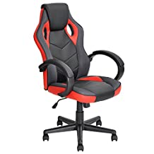 Ergonomic Computer Seat Faux Leather Office Racing Desk Chair-Red