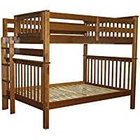 Bedz King Bunk Beds Full over Full Mission Style with End Ladder, Espresso