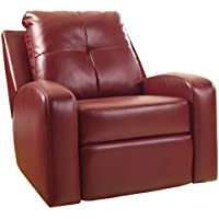 Ashley Furniture Signature Design - Mannix Swivel Recliner Chair - Manual Glider Reclining Motion - Red