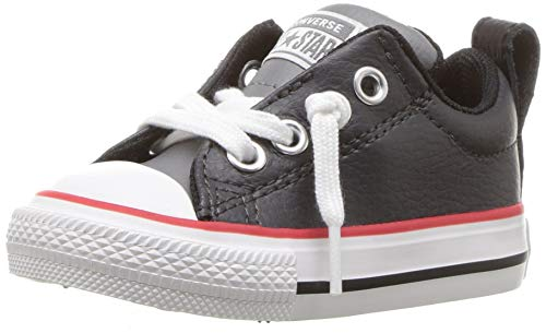 Converse Boys' Chuck Taylor All Star Street Slip On Leather Low Top Sneaker, Dark Charcoal, 7 M US Toddler