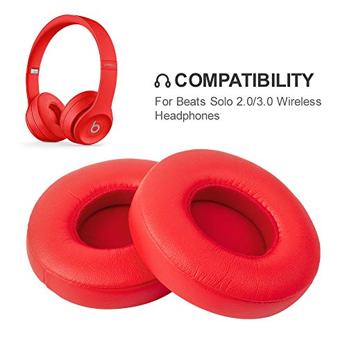 Beats Solo Replacement Ear Pads by Link Dream - Replacement Ear Cushions Kit Memory Foam Earpads Cushion Cover for Solo 2.0/3.0 Wireless Headphone, 2 Pieces (Solo Foam)