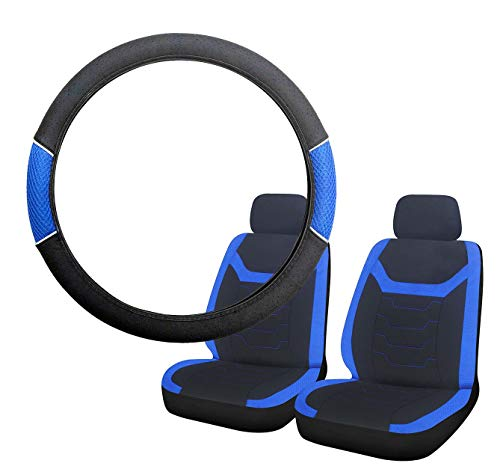 UKB4C Blue & Black Steering Wheel & Front Seat Cover set for Saab 9-5 95 All Models: