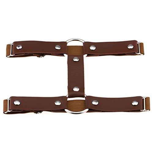 Riverlily Frauen reizvolle elastische Leder Leg Garter schenkelhohen Doppel Gürtel runde Ringe Strumpfband (Runde Leder)