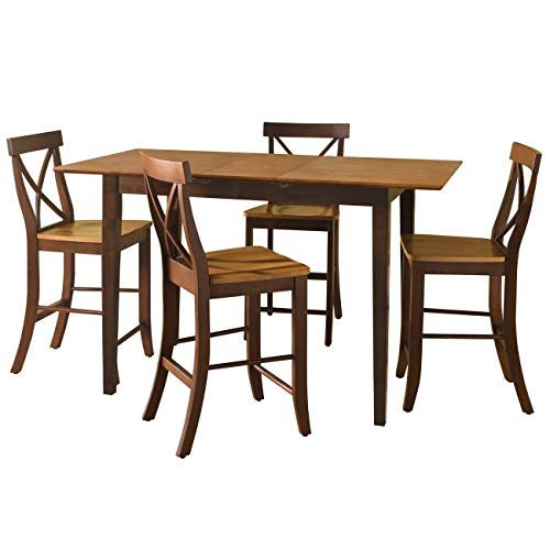 International Concepts 32 by 48-Inch Gathering Height Table with X-Back Stools, Set of 5