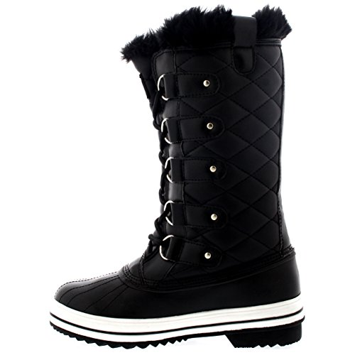 Boot Rain Polar BLL36 Lined Fur Winter Quilted 5 YC0010 Snow Tall Womens Waterproof Warm Snow Boot qafBq7P