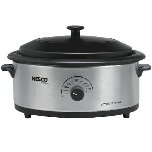 Nesco 4816-25PR 6 Qt. Stainless Steel Roaster with Nonstick Cookwell