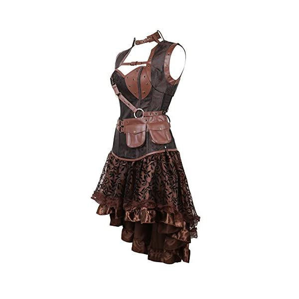 frawirshau Women's Steampunk Costume Corset Dress Halloween Costumes Steam Punk Gothic Corset Skirt Set 4