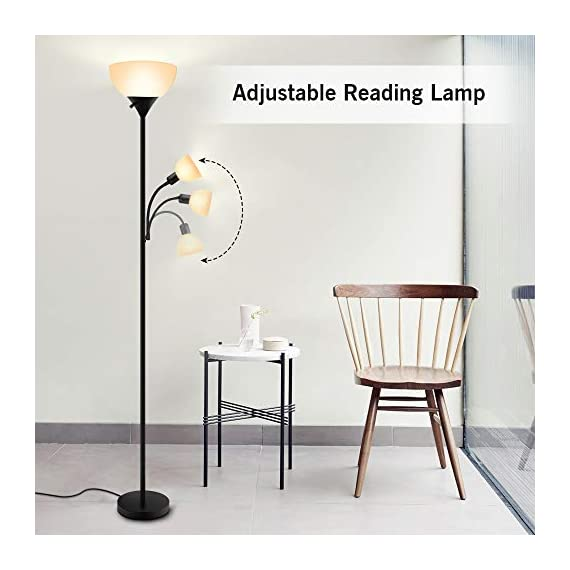 Floor Lamp - Standing Lamp, 9W+4W Energy Saving LED Bulbs, Torch Lamp with Adjustable Reading Lamp, 3000K Warm White, LED Floor Lamps for Bedroom, Living Room, Office, Working, Reading - ✔ ENERGY-SAVING LED BULBS - Adopting 2 LED Bulbs, this floor lamp consume very low amounts of power, which makes it more environment friendly. When comparing with traditional lighting solutions, this LED floor lamp has longer lifespan that will last 40,000 hours, which means lower maintenance costs and lower replacement cost, saving your time and money in a long term. ✔ ADJUSTABLE READING LAMP - Except for a 9-watt main lamp, there is also a 4-watt side lamp with gooseneck. The side lamp can be adjusted Into different angles, which is perfect for reading or working. Also, you don't have to worry about your eyes because this floor lamp emits 3000K warm white, which is very easy for eyes. With three choices of the rotary switch, you can choose Main Lamp On, Side Lamp On, or Both On according to your needs. ✔ EASY TO ASSEMBLE & MOVE - The assembly of this floor lamp is super easy, following the instruction, you can install it with no need for additional tools or parts. Due to its simple design, this floor light can be carried and moved easily, perfect for living room, bedroom or office. PS: the cord will be a little bit longer, but that's not defective, you will assemble it perfectly just following the steps. If you have any problem, please contact us, we'd like to help you out. - living-room-decor, living-room, floor-lamps - 41hhNlG14oL. SS570  -