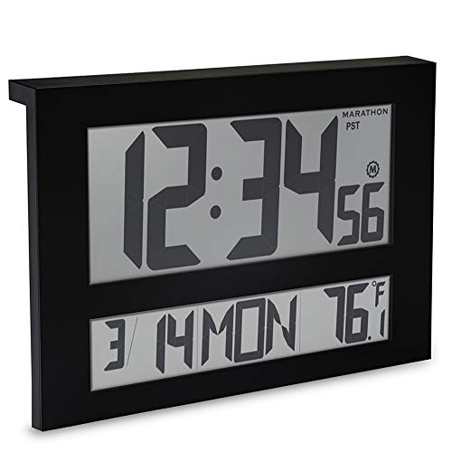 Marathon CL030025BK Commercial Grade Jumbo Atomic Wall Clock with 6 Time Zones, Indoor Temperature & Date, Color-Black.