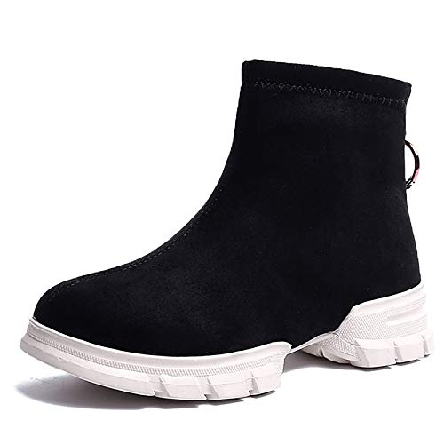 Black 7.5 US Black 7.5 US Women's Fashion Boots Suede Winter Boots Flat Heel Round Toe Booties Ankle Boots Black