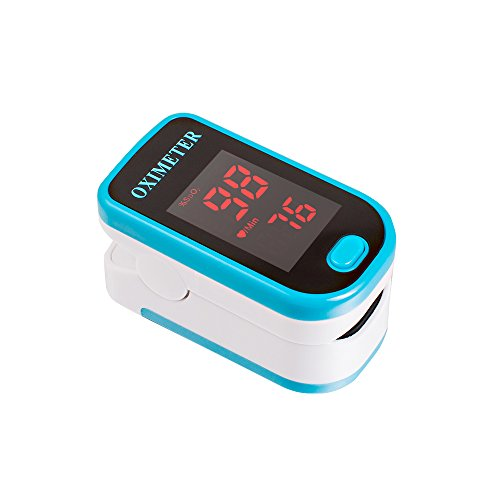Denshine Fingerpulsoximeter Herzfrequenzmesser SPO2 Sauerstoffsättigung Messung (Blau)