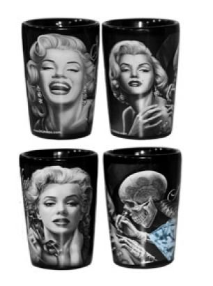 Marilyn Monroe Glass - DGA Day of the Dead Rockabilly Marilyn Monroe Smile Now Cry Later Heartbreaker Heavy Base Shot Glass Set (2 Pack), 1.5oz
