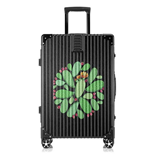 Fashion Black Background Print Custom Suitcase Prickly Pear Green Plant Flower Pot Hardside Spinner Universal Wheel Trolley Lightweight Business Travel Carry On Checked Luggage ()