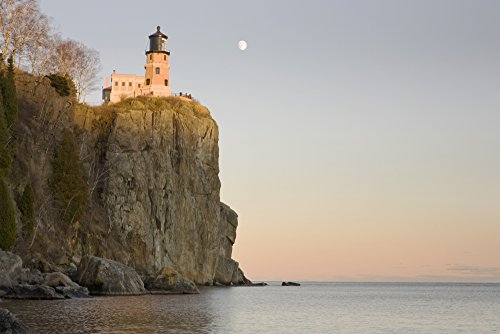 Minnesota, United States Of America; Split Rock Lighthouse On The North Shores Of Lake Superior With A Full Moon In The Sky Poster Print (19 x 12) Lake Superior Lighthouses