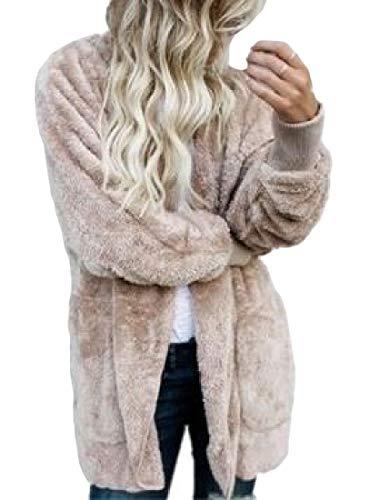 Cardigan Parkas Women's Coat Khaki H Warm Size Sherpa amp;E Casual Outerwear Plus wffSBqX