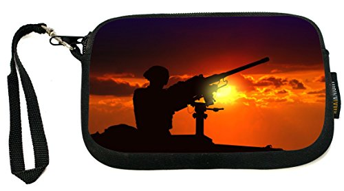 UKBK Soldier at Armed Tank Neoprene Clutch Wristlet with Safety Closure - Ideal case for Camera, Universal Cell Phone Case etc..