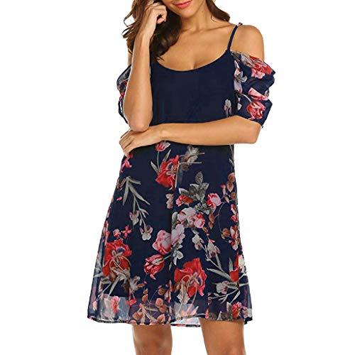 Hattfart Women's Chiffon Short Sleeve Spaghetti Strap Floral Printed Cold Shoulder Dress Loose Beach Dress (S, Dark Blue)
