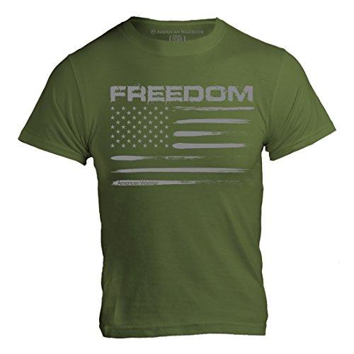 (American Warrior Mens Freedom Flag T-Shirt XX-Large OD Green)