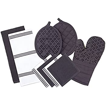 Sticky Toffee Silicone Printed Oven Mitt & Pot Holder, Cotton Terry Kitchen Dish Towel & Dishcloth, Gray, 9 Piece Set