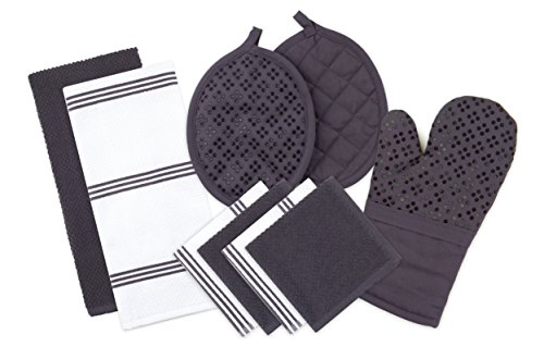 Striped Pot Holder - Sticky Toffee Silicone Printed Oven Mitt & Pot Holder, Cotton Terry Kitchen Dish Towel & Dishcloth, Gray, 9 Piece Set