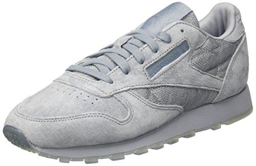 Reebok Damen Classic Leather Sneaker Grau In Pizzo (meteor Grigio / Bianco)