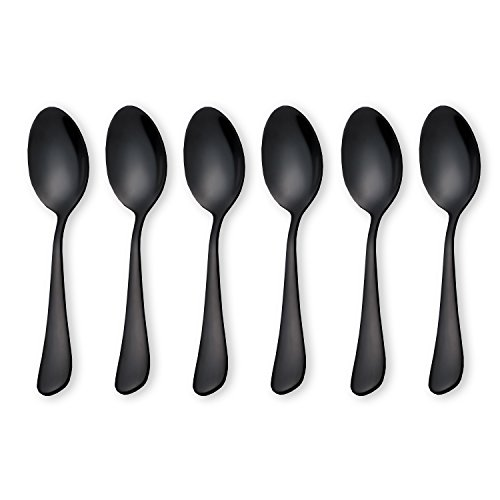 Black Coffee Scoops Teaspoons, Stainless Steel Mini Cake Spoons, Ice Cream Spoon, Small Spoons for Dessert, Set of 6 (Black-Coffee Scoops)