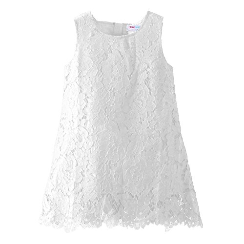 LittleSpring Little Girls Lace Dress Holiday Dress Sleeveless White Size -