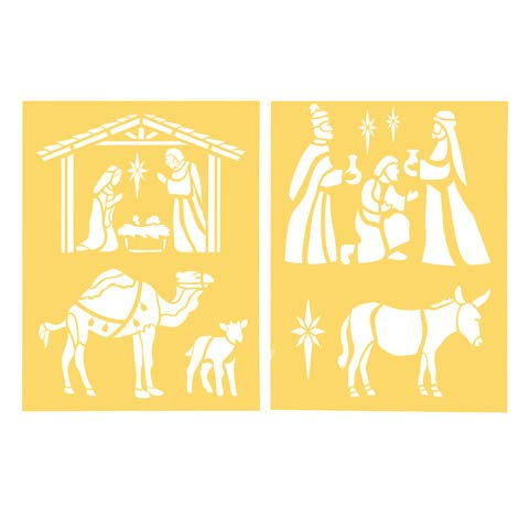 2 Piece Christmas Nativity Painting and Craft Stencil 8.5 x 11 inches