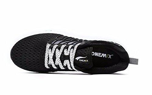 Onemix Hombres Zapatillas De Malla Transpirable, Zapatillas Ligeras Negro / Blanco
