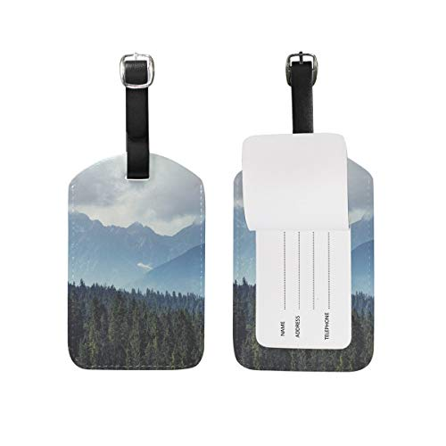 Misty Mountain Forest Luggage Tag Travel ID Label Leather for Baggage Suitcase 2 pieces set