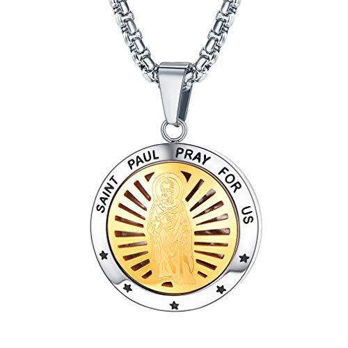 Two Tone Locket - FaithHeart Saint Paul Pendant Necklace, Stainless Steel Two Tone Photo Locket Pendants Christian Jewelry