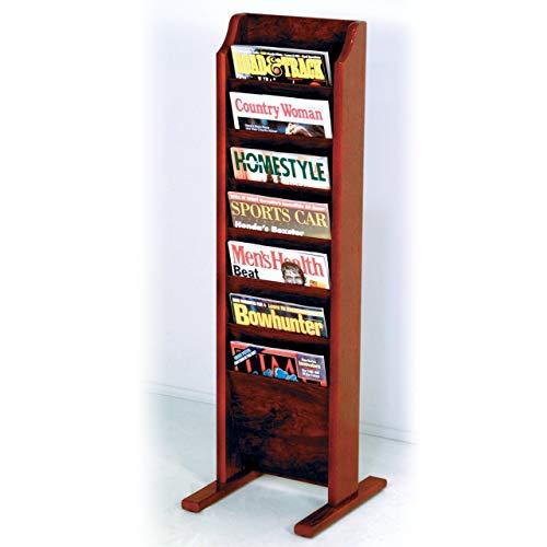 Wooden Mallet 7-Pocket Cascade Free-Standing Magazine Rack, Mahogany (Renewed) (Freestanding Oak Magazine Rack)