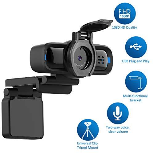 Larmtek Computer Webcam with Privacy Shutter, Multi-Compatible Desktop Webcam, 1080p HD Computer Webcam, Rotating Webcam for Laptops