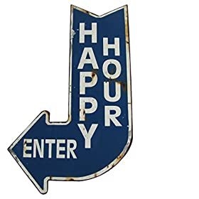 Big HAPPY HOUR ENTER Curved Arrow Vintage Metal Sign