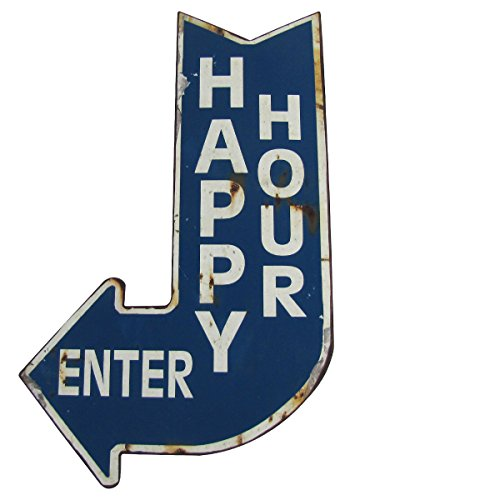 Big-HAPPY-HOUR-ENTER-Curved-Arrow-Vintage-Metal-Sign