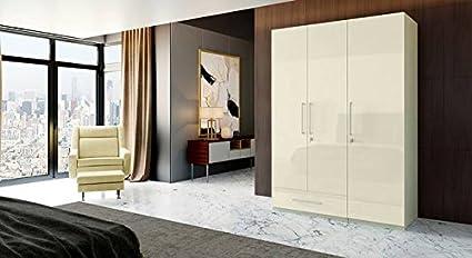 new style 77b84 6c87b Hekami High Gloss Finish 3 Doors + 1 Drawer Wardrobe