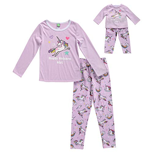 Dollie & Me Girls' Big Snug Fit Sleepwear Set and Matching Doll Outfit, Purple, 8 ()