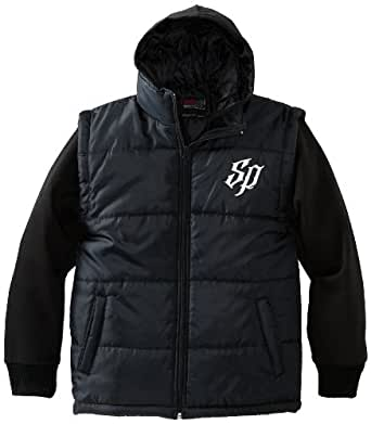 Southpole Big Boys' Twofer Padded Vest with Long Sleeve Fleece Hoody, Black, Large