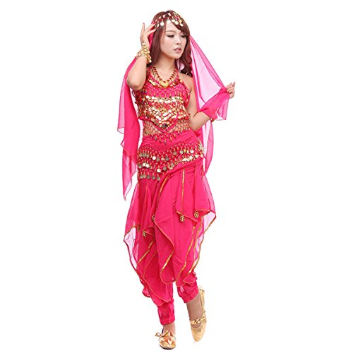 (Pilot-trade Women's Belly Dance Costume Set 4-pieces Top Pants Hip Scarf Head Scarf with Gold Coins Dark)
