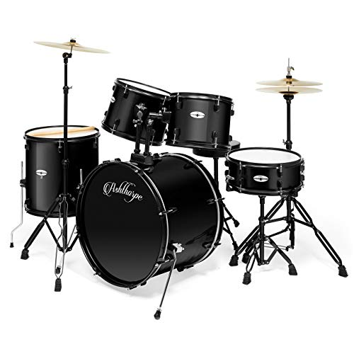 Ashthorpe 5-Piece Complete Full Size Adult Drum Set with Remo Batter Heads - ()