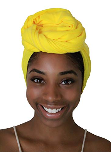 Rayna Josephine Solid Color Head Wrap -Stretch Long Hair Scarf Turban Tie (Sun Yellow) ()